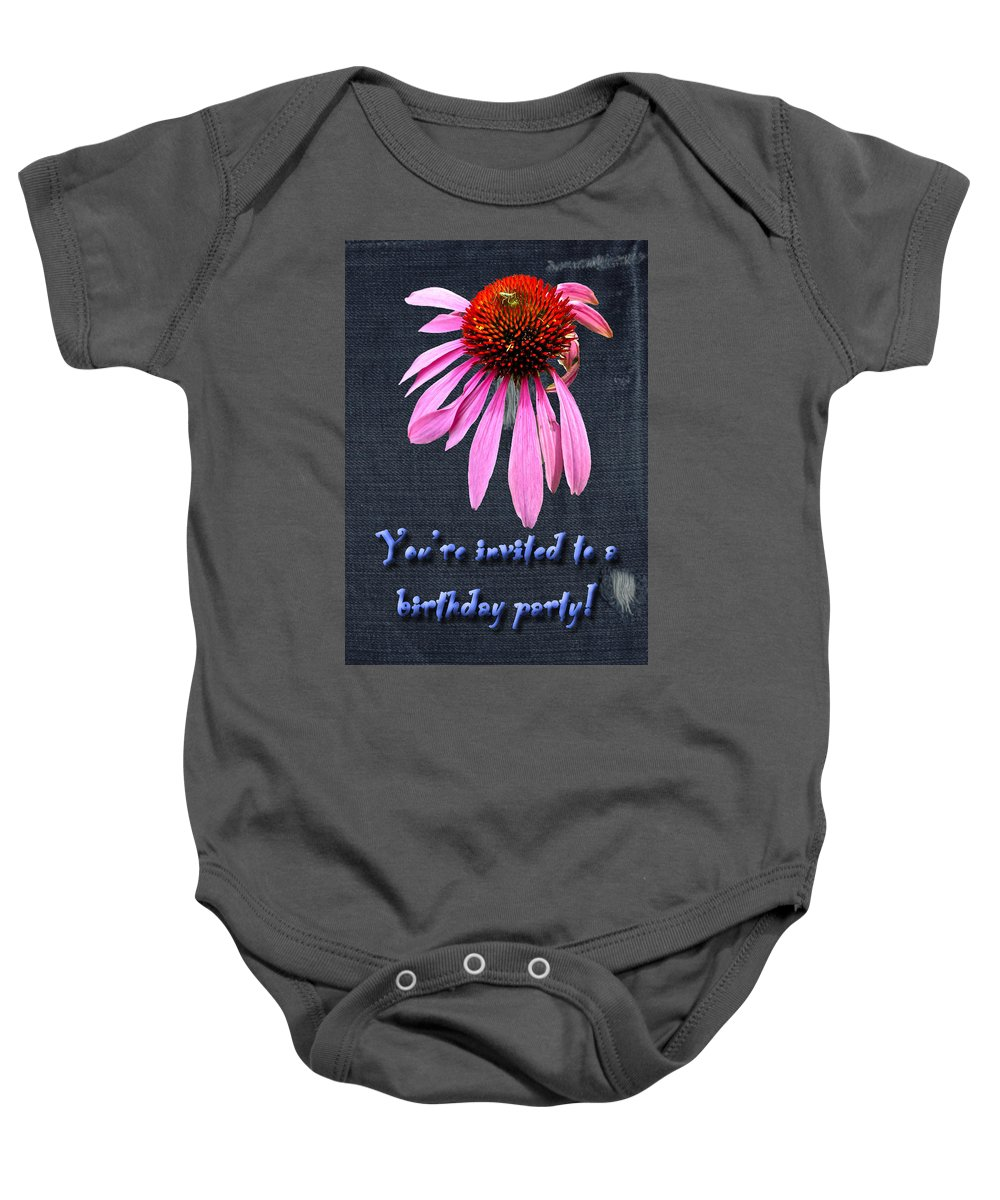 Invitation Baby Onesie featuring the photograph Birthday Party Invitation - Coneflower by Mother Nature