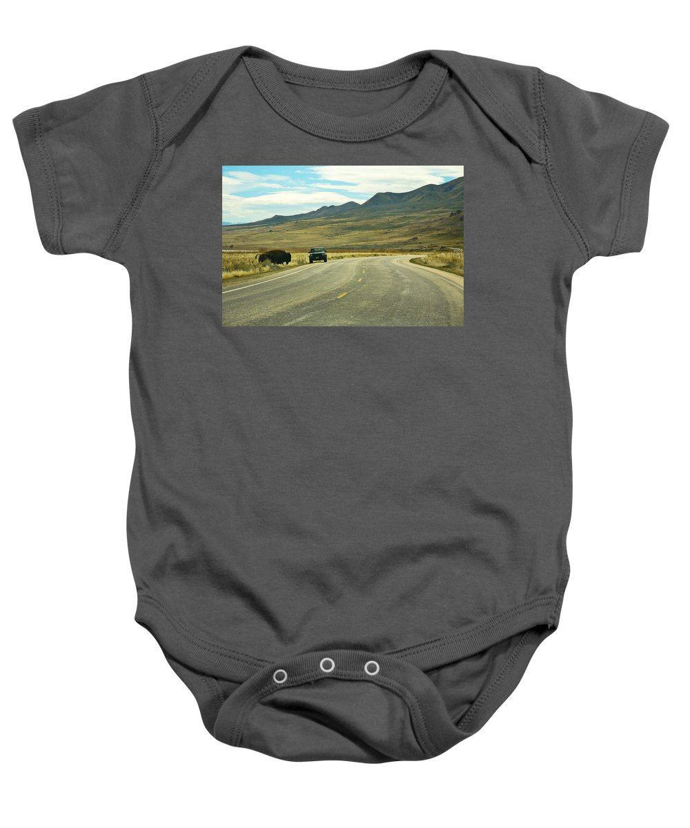 Utah Baby Onesie featuring the photograph Bison And Jeep by Marilyn Hunt