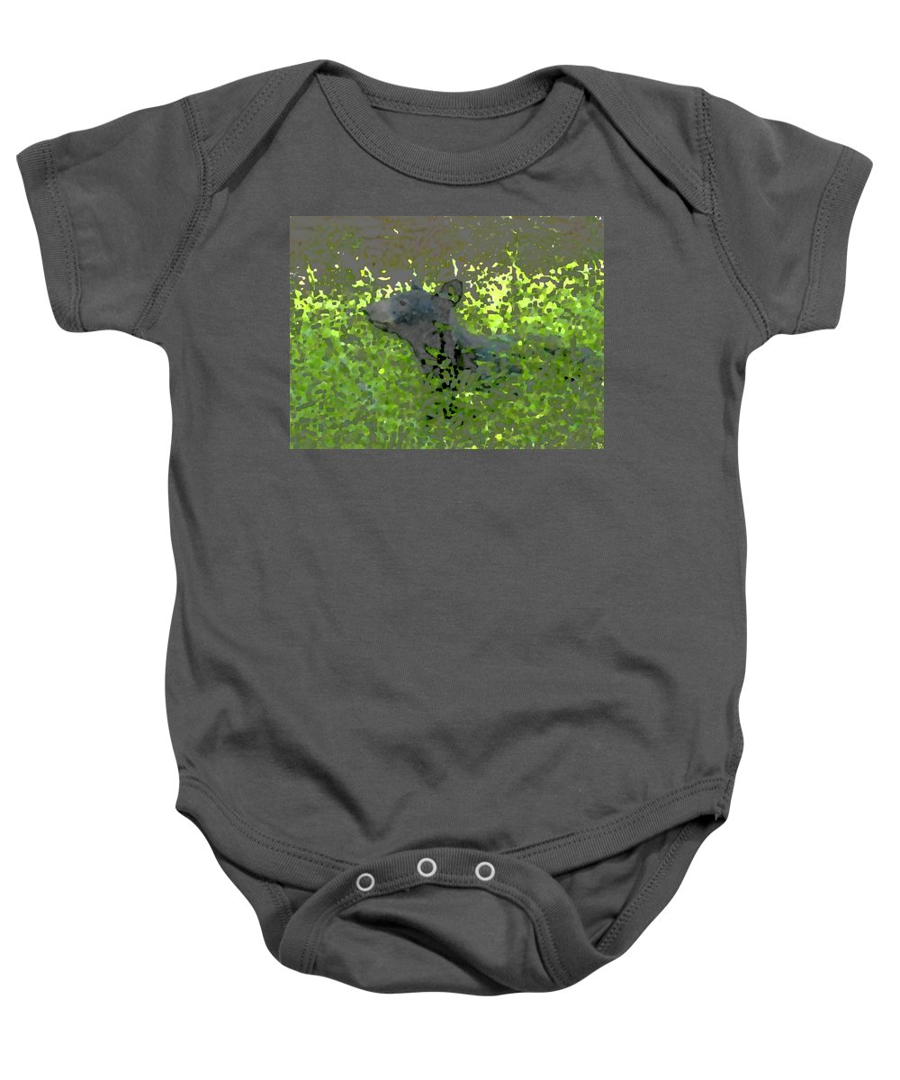 Black Bear Baby Onesie featuring the painting Black Bear In Green by David Lee Thompson