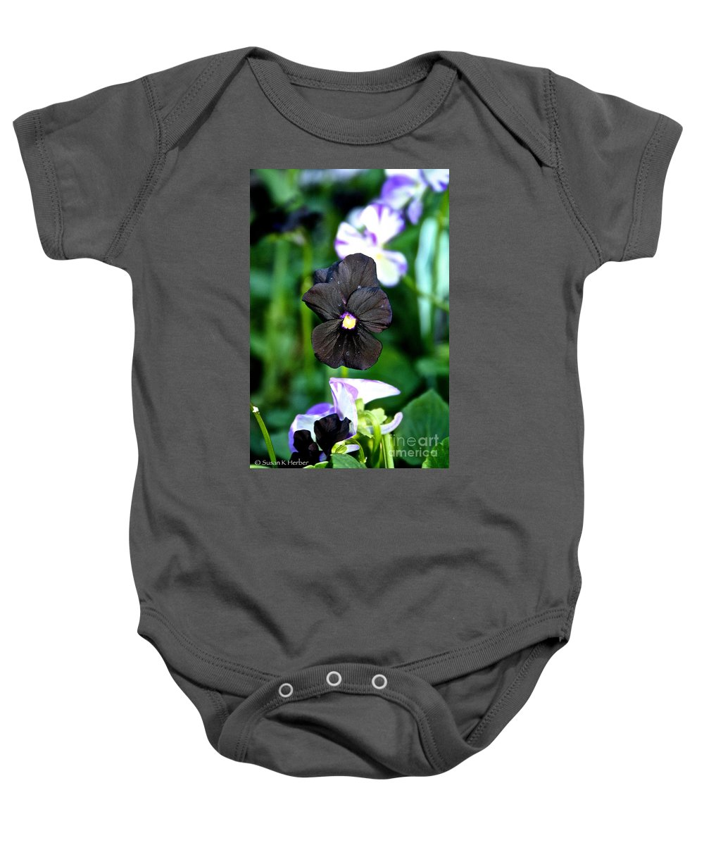 Plant Baby Onesie featuring the photograph Black Violet by Susan Herber