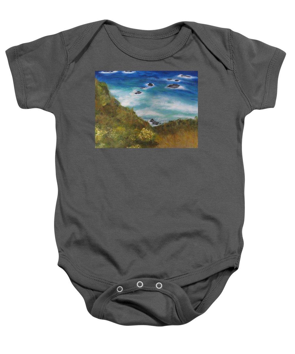 Ocean Baby Onesie featuring the painting Block Island by Suzanne Godau
