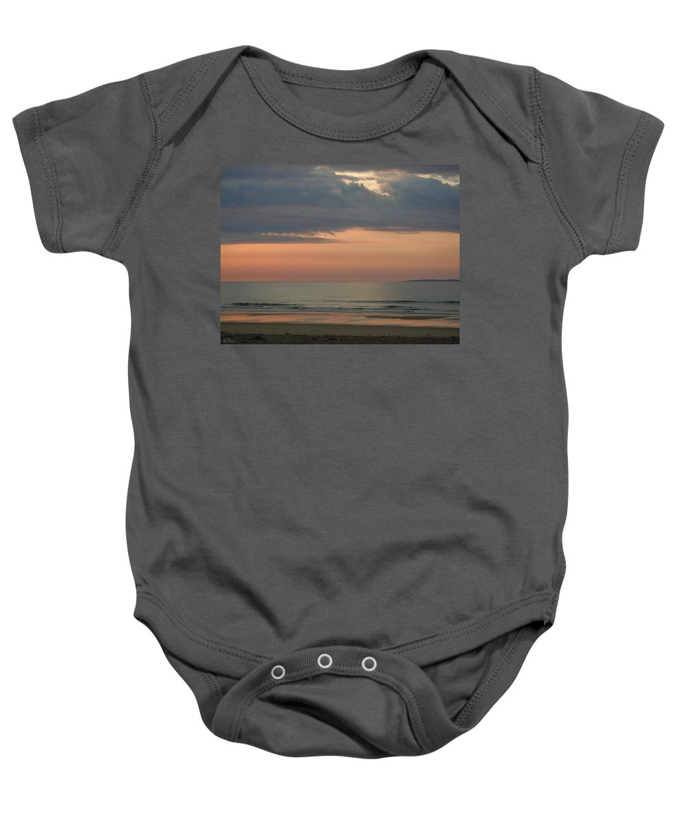 Beach Baby Onesie featuring the photograph Boat On Horizon In Maine by Nancy Griswold