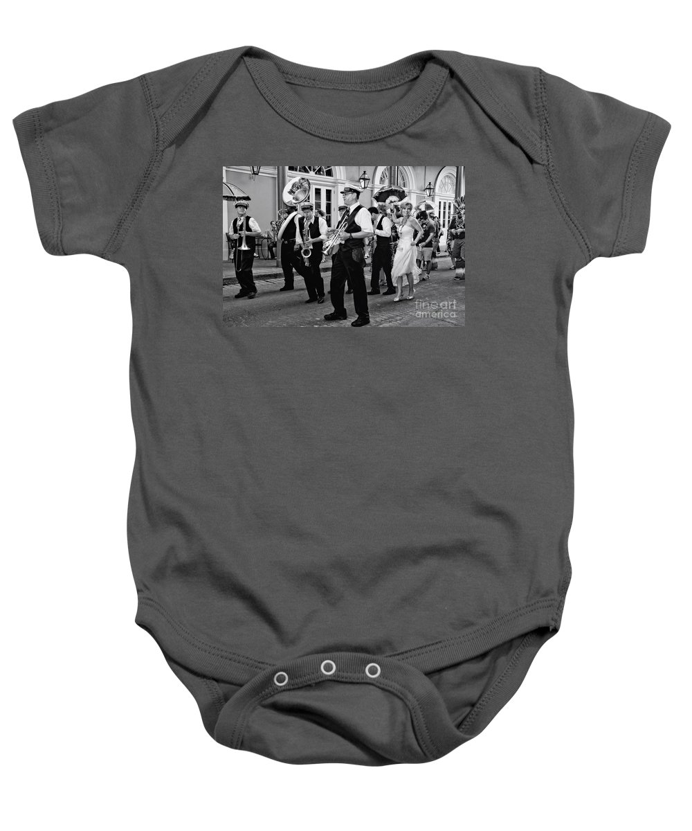 New Orleans Prints Baby Onesie featuring the photograph Bourbon Street Second Line Wedding New Orleans In Black And White by Kathleen K Parker