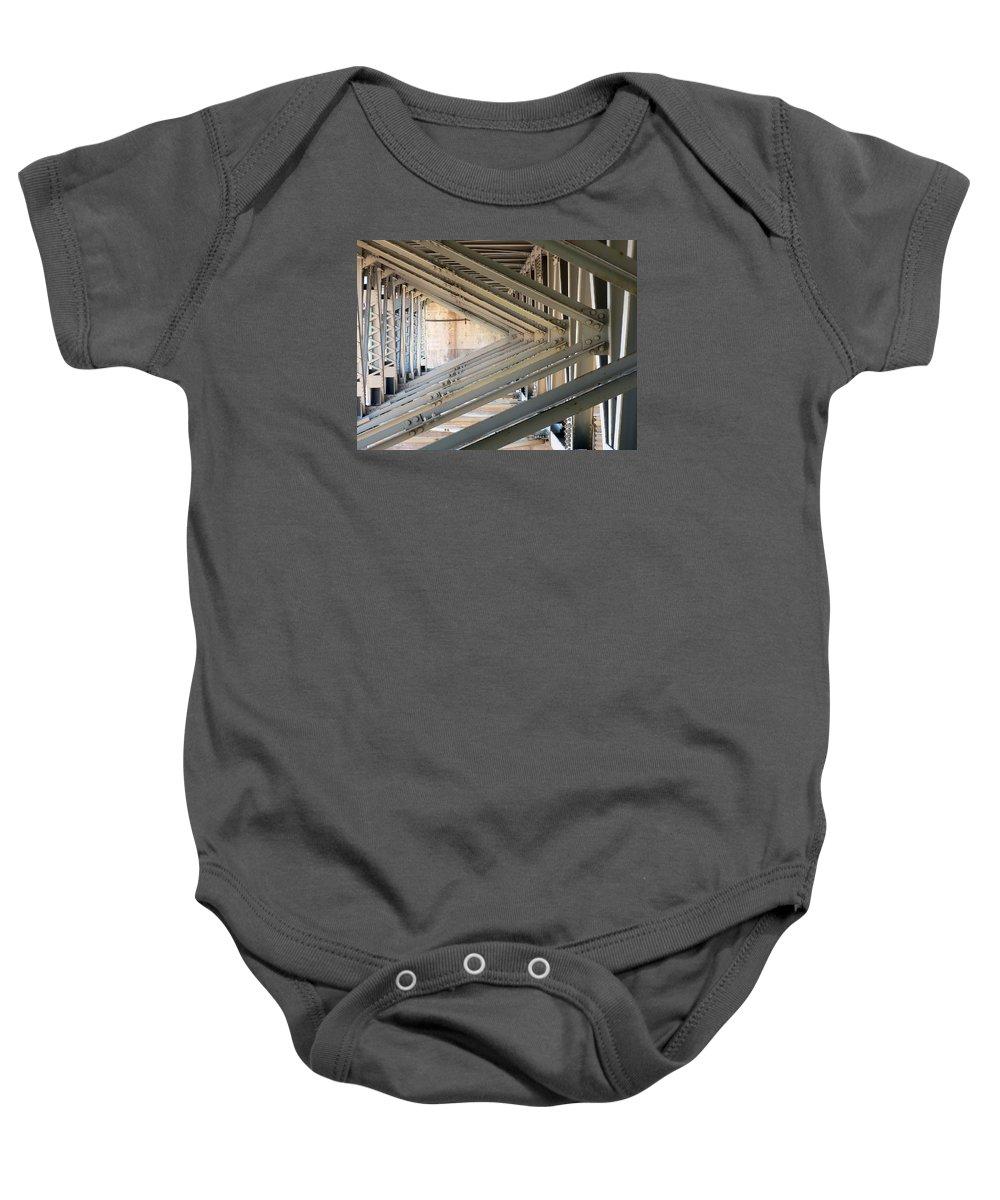 Bridge Baby Onesie featuring the photograph Bridge Geometry by Elaine Mikkelstrup