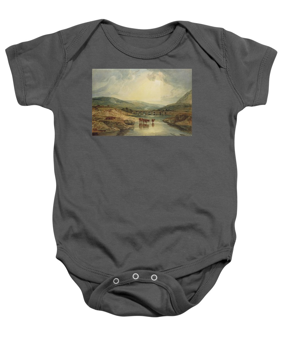 Aqueduct; Haystack; River Scene; Cattle; Landscape; Britain; Powys; Dyfed; Britain; Wales Baby Onesie featuring the painting Bridge Over The Usk by Joseph Mallord William Turner