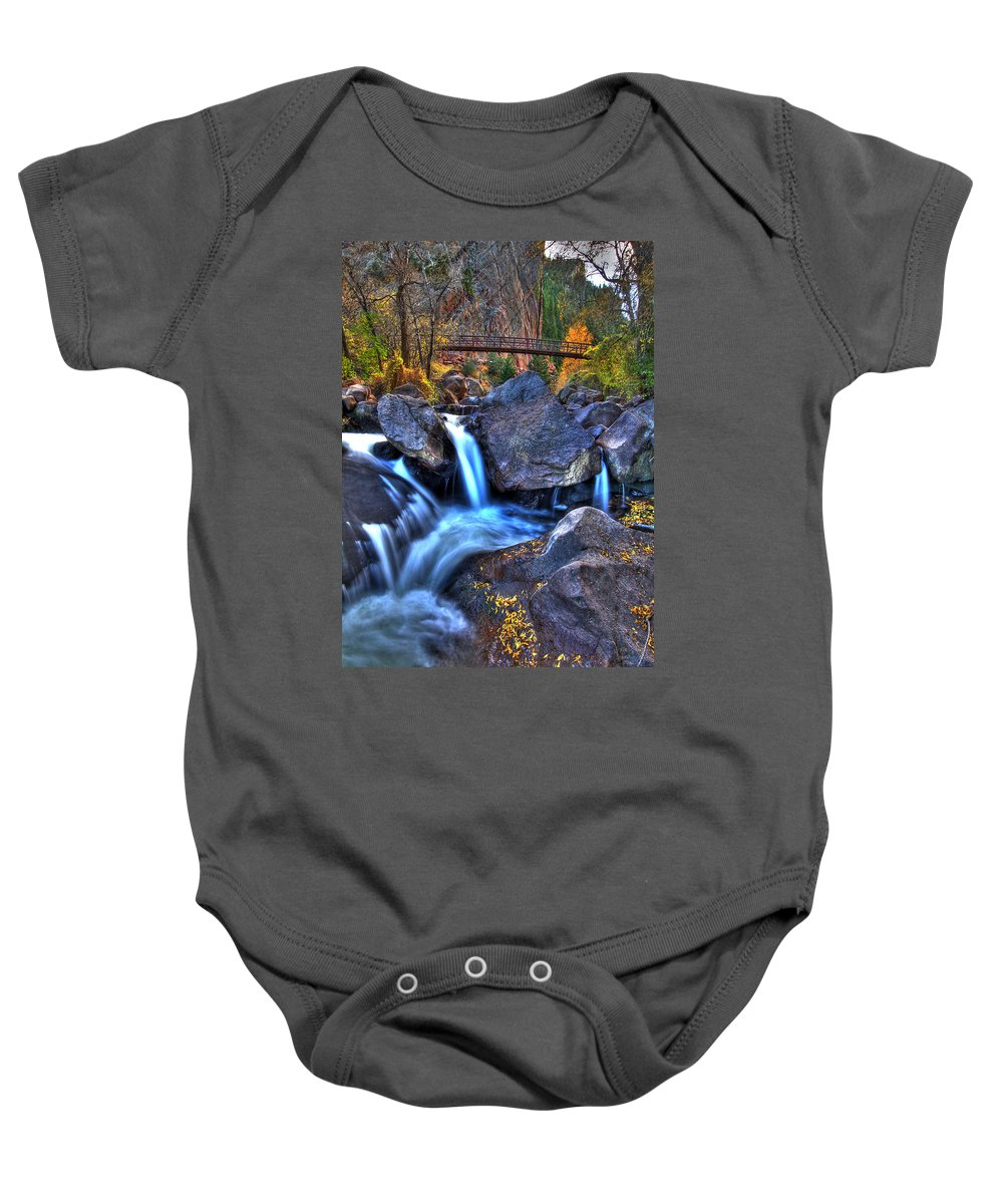 Landscape Baby Onesie featuring the photograph Bridge To The Seasons by Scott Mahon