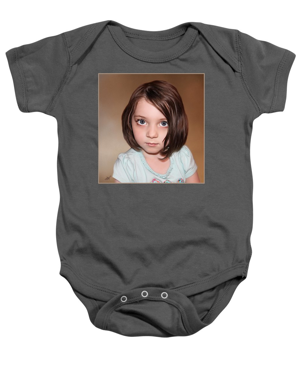 Childrens Portraits Baby Onesie featuring the painting Bright Eyes by Tom Schmidt