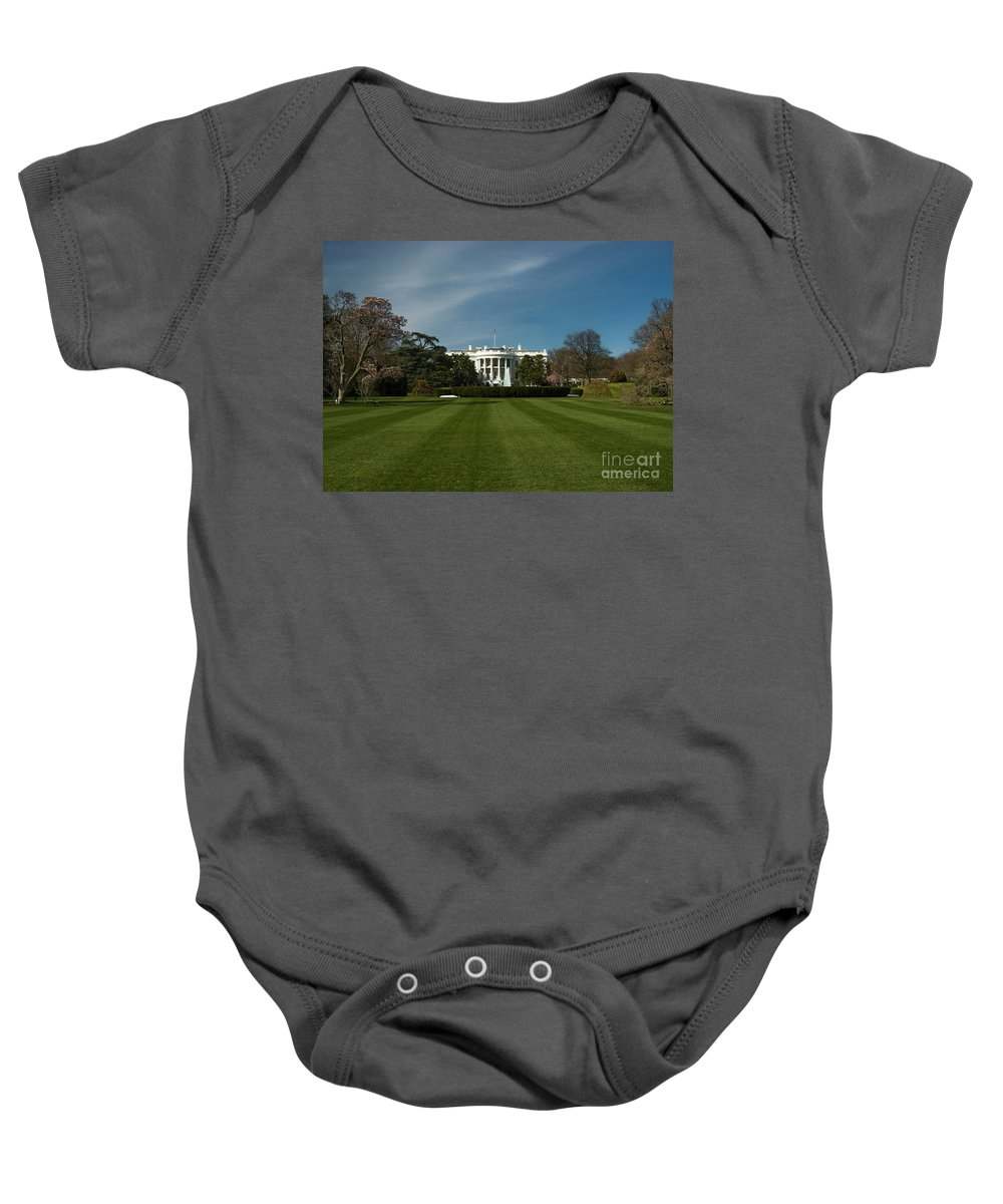 Washington Dc Baby Onesie featuring the photograph Bright Spring Day At The White House by Tim Mulina