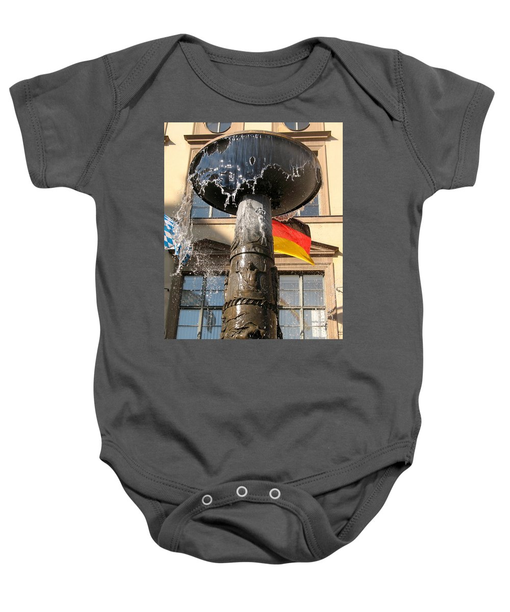 Fountain Baby Onesie featuring the photograph Bronze Fountain by Christiane Schulze Art And Photography