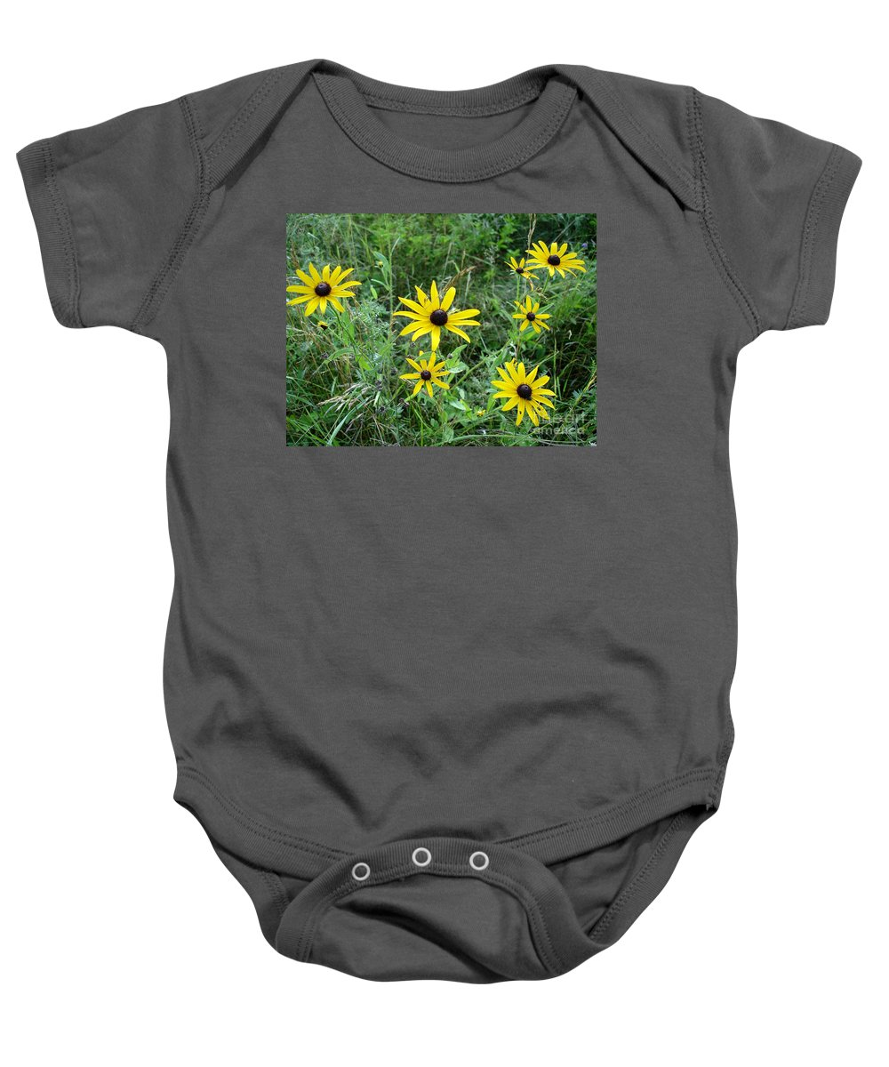 Brown Baby Onesie featuring the photograph Brown Eyed Susan by Kerri Mortenson