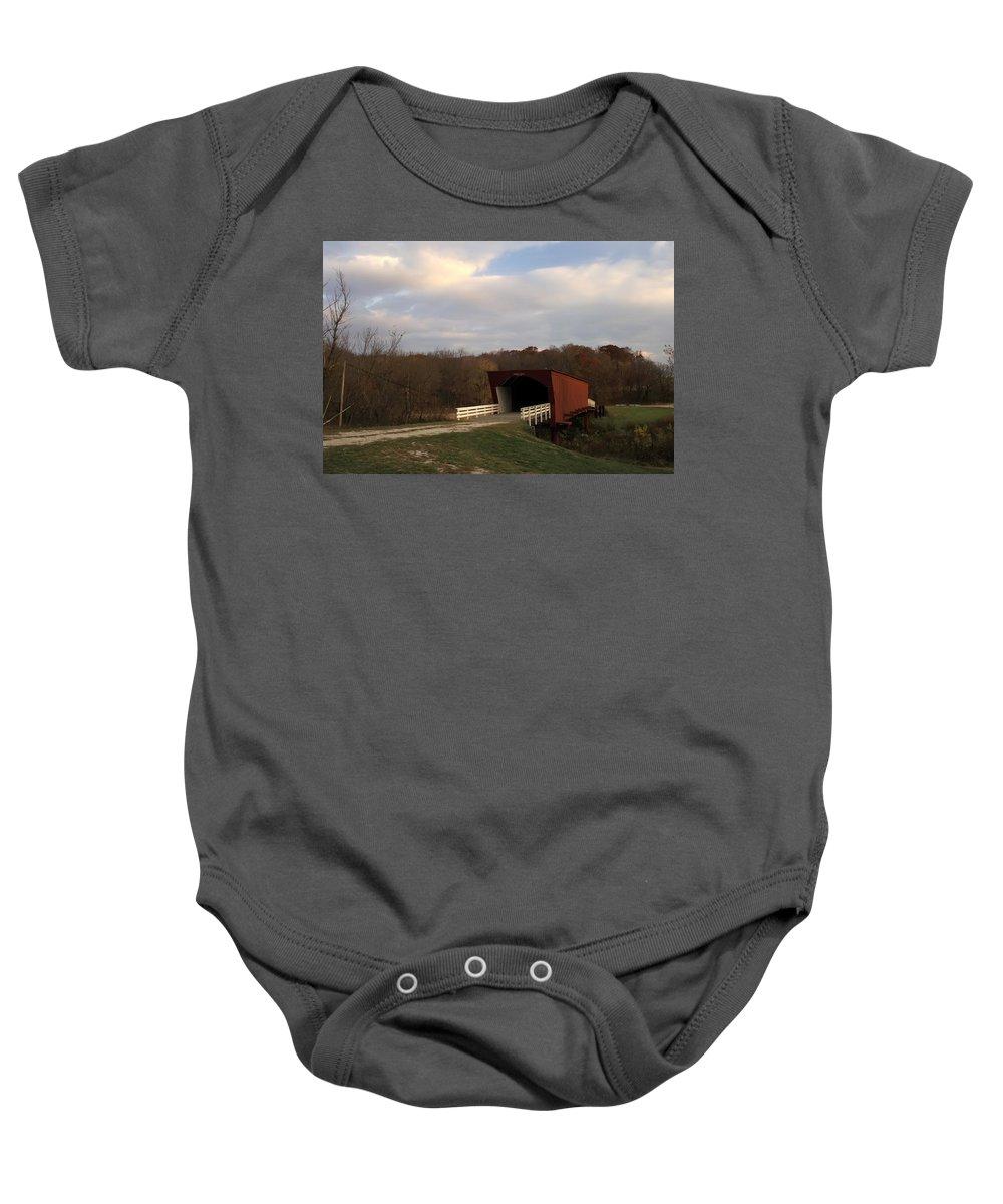 Covered Bridges Of Iowa Madison County Baby Onesie featuring the photograph Built In 1883 Roseman Bridge by Randall Branham