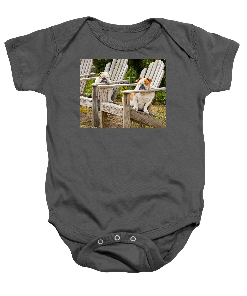 Bulldogs Baby Onesie featuring the photograph Bulldogs Relaxing At The Beach by Bill Swindaman
