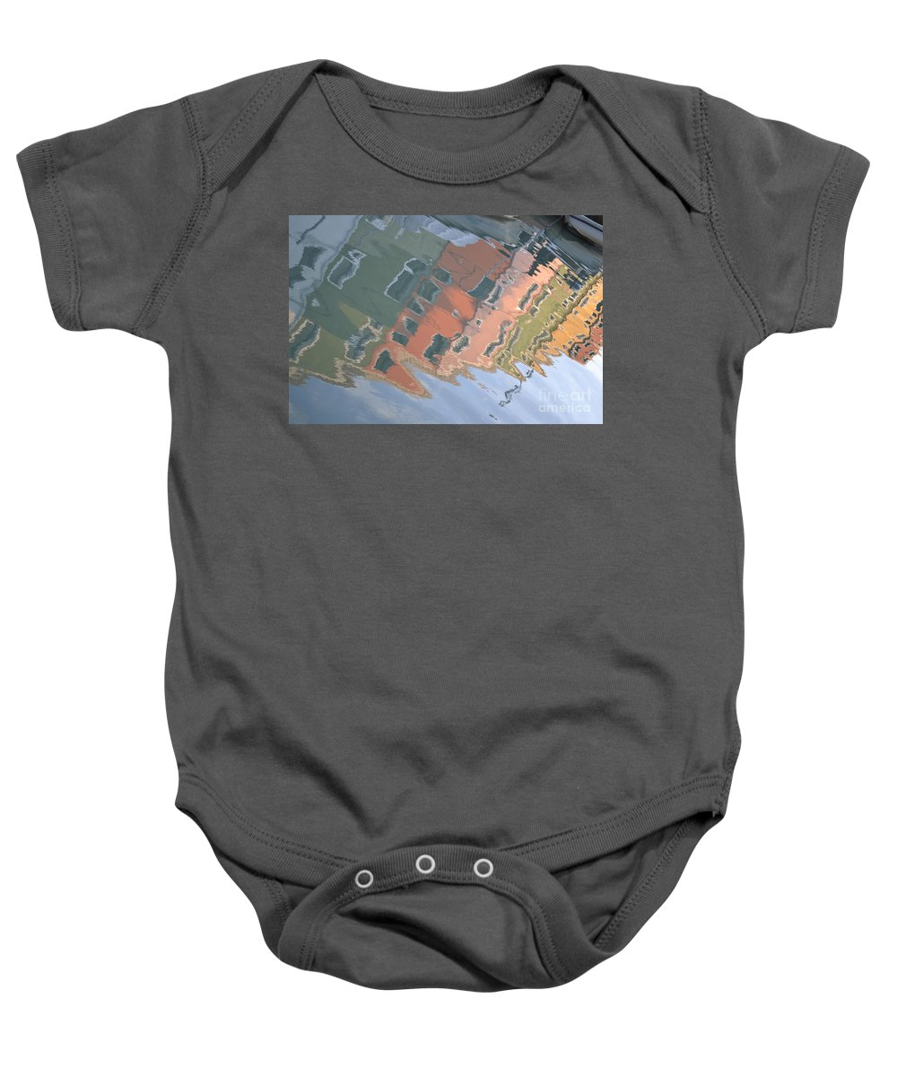 Burano House Baby Onesie featuring the photograph Burano House Reflections by Rebecca Margraf