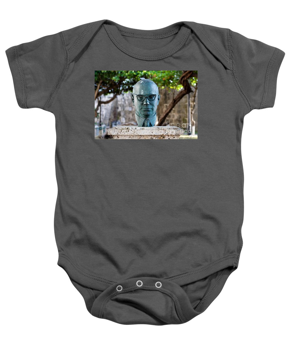 60s Baby Onesie featuring the photograph Bust Of Carlos Lleras Restrepo In Cartagena De Indias Colombia by Jannis Werner
