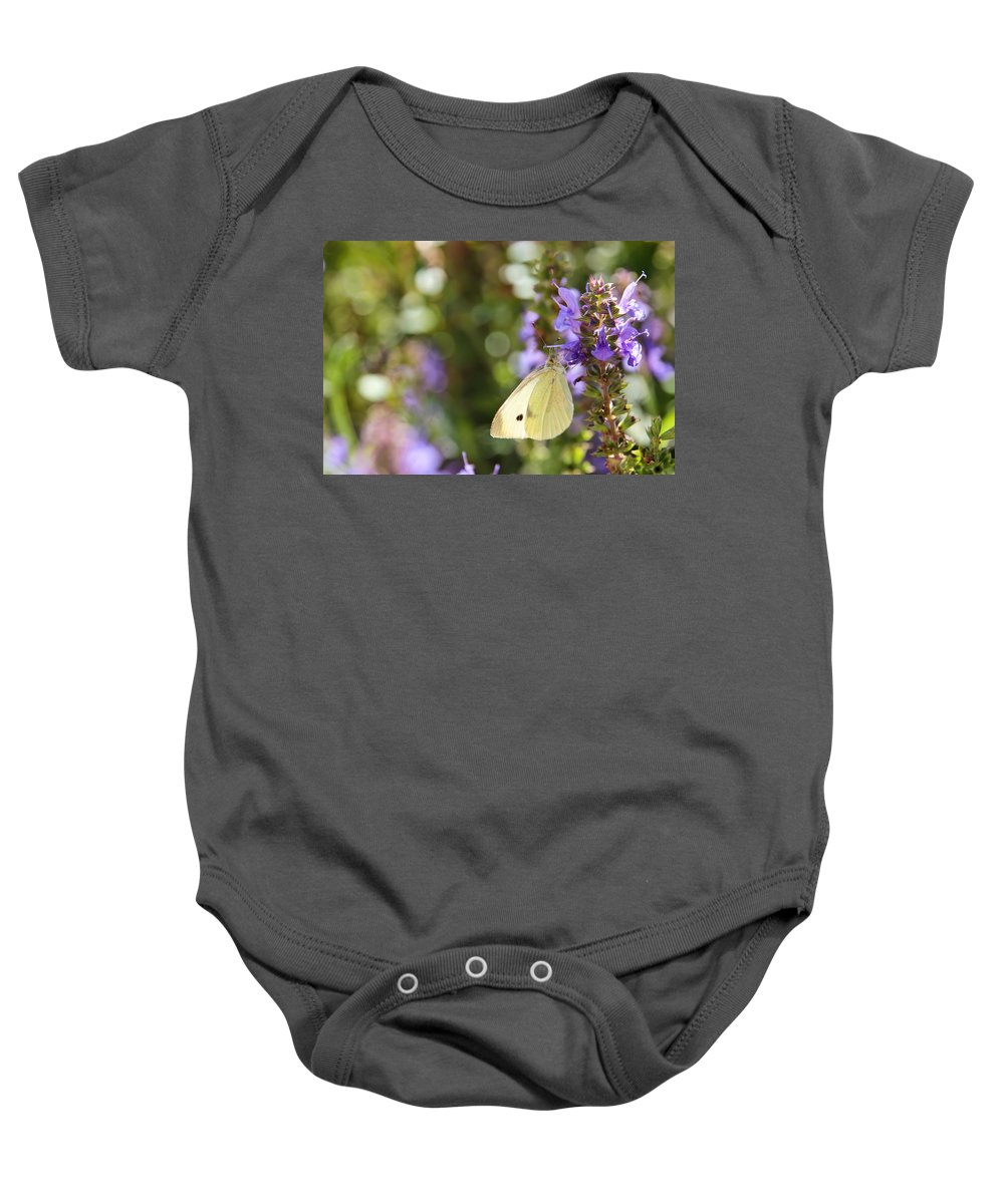 Butterfly Baby Onesie featuring the photograph Cabbage White Butterfly by Heidi Smith