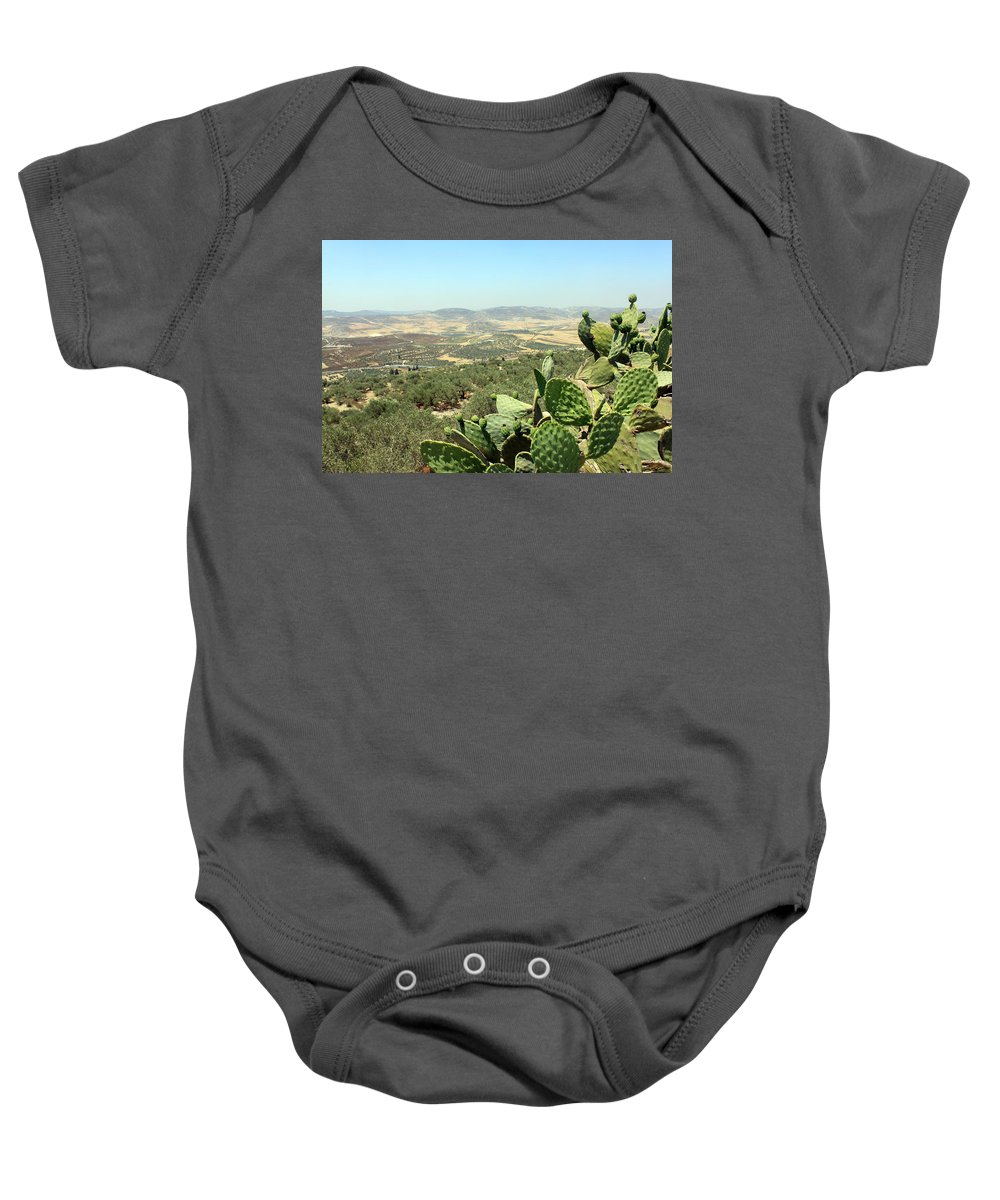 Cactus Baby Onesie featuring the photograph Cactus At Samaria by Munir Alawi