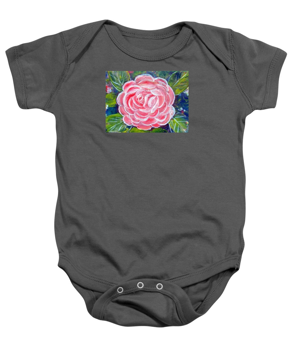 Flower Baby Onesie featuring the painting Camellia by Patricia Taylor