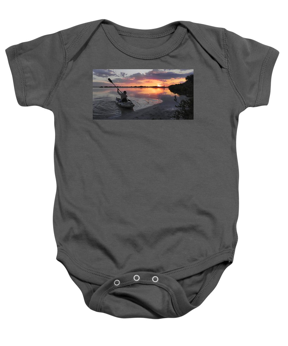 Canoe Baby Onesie featuring the photograph Canoe At Sunset by Francesa Miller