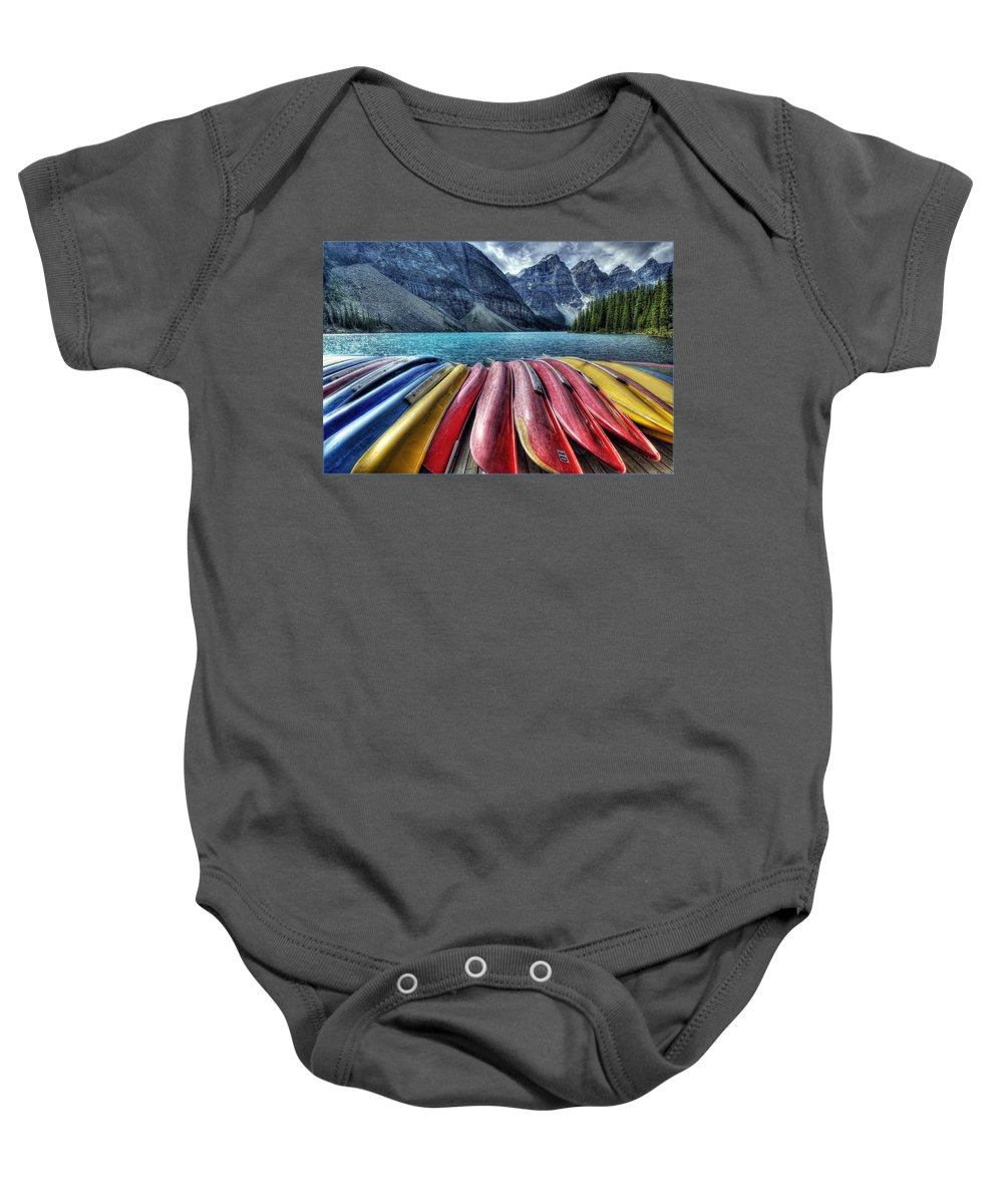 Alberta Baby Onesie featuring the digital art Canoes by Diane Dugas