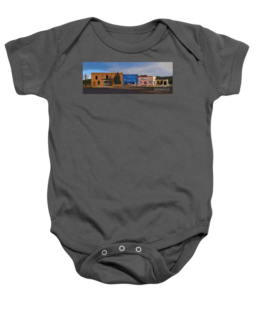 Colorado Baby Onesie featuring the photograph Canon City Facades - Posterized by Rich Walter