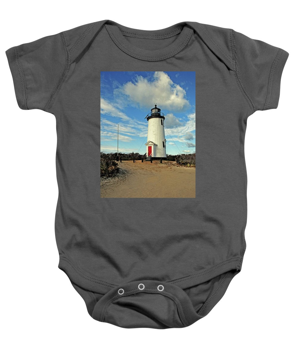 Cape Pogue Lighthouse.lighthouse Baby Onesie featuring the photograph Cape Pogue Lighthouse Marthas Vineyard by Dave Mills