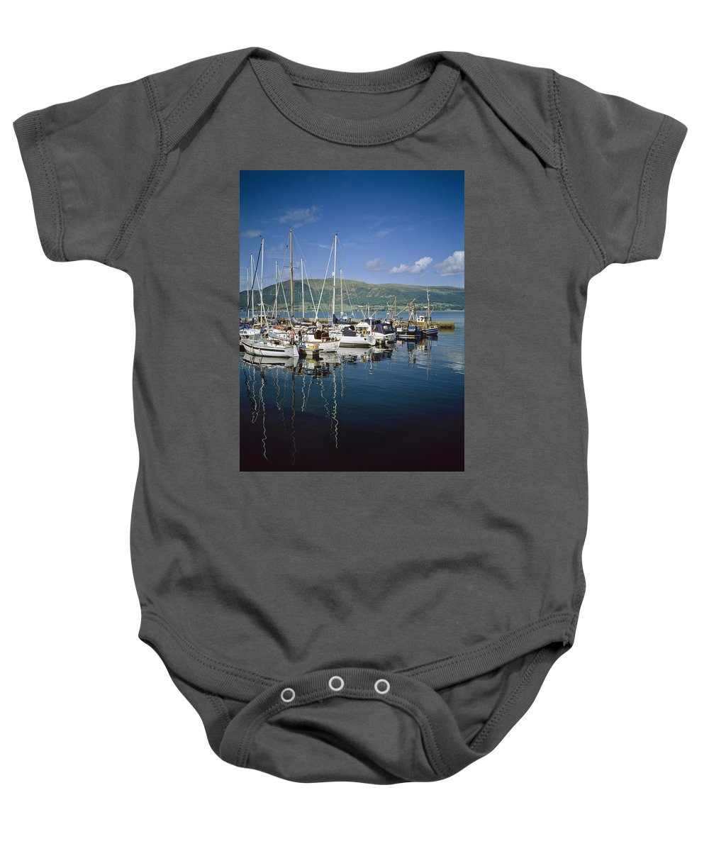 Blue Sky Baby Onesie featuring the photograph Carlingford Yacht Marina, Co Louth by The Irish Image Collection
