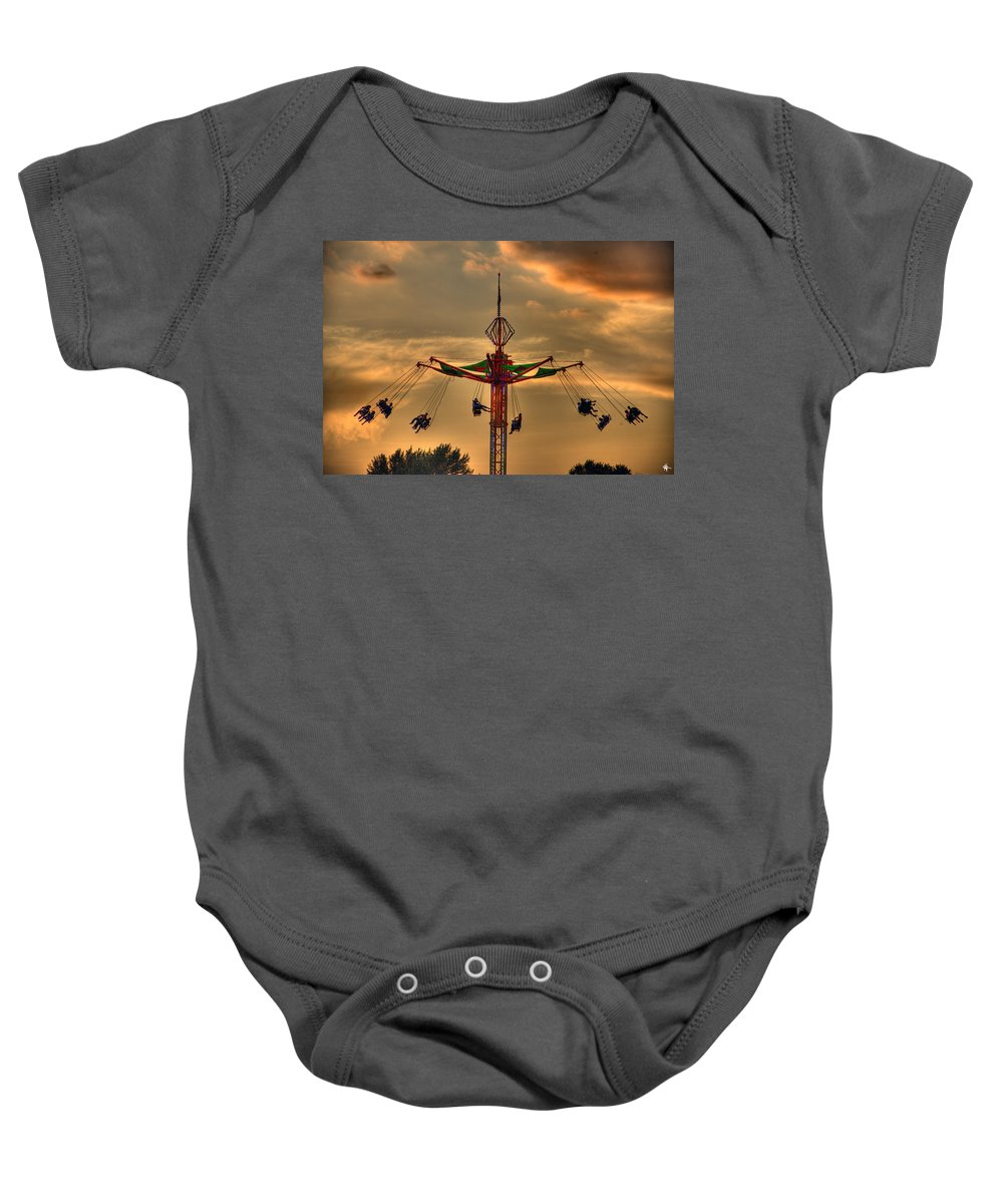 Sunset Baby Onesie featuring the photograph Carnival Ride by Nicholas Grunas