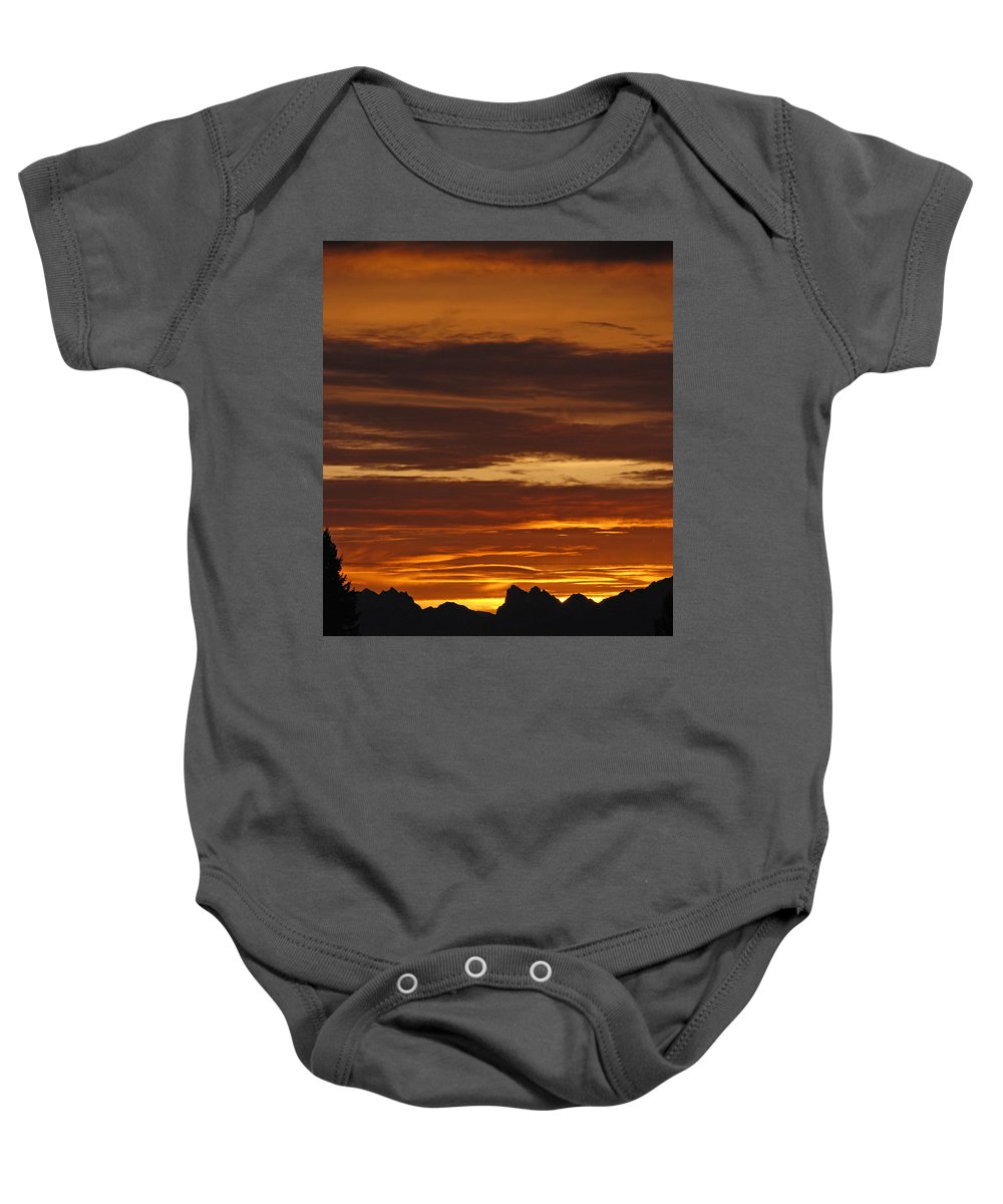 Mountains Baby Onesie featuring the photograph Cascade Mountains Sunrise 2 by Carol Eliassen