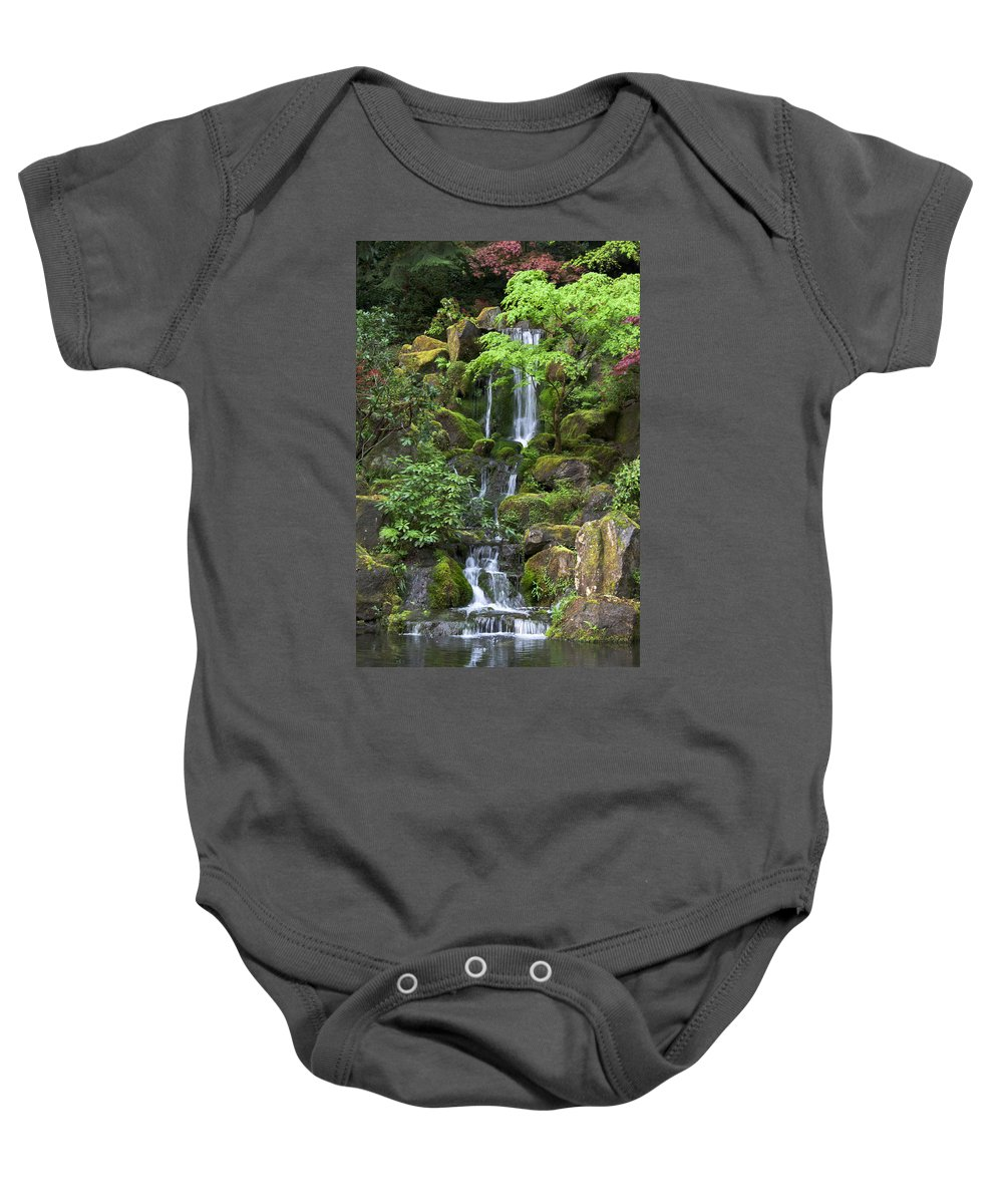 Green Baby Onesie featuring the photograph Cascading Waters by Jean Hildebrant