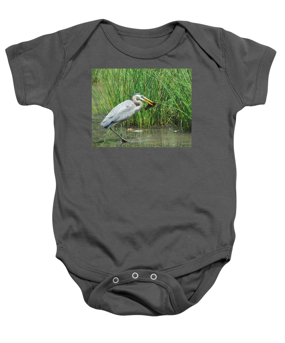 Heron Baby Onesie featuring the photograph Catch Of The Day by Paul Ward