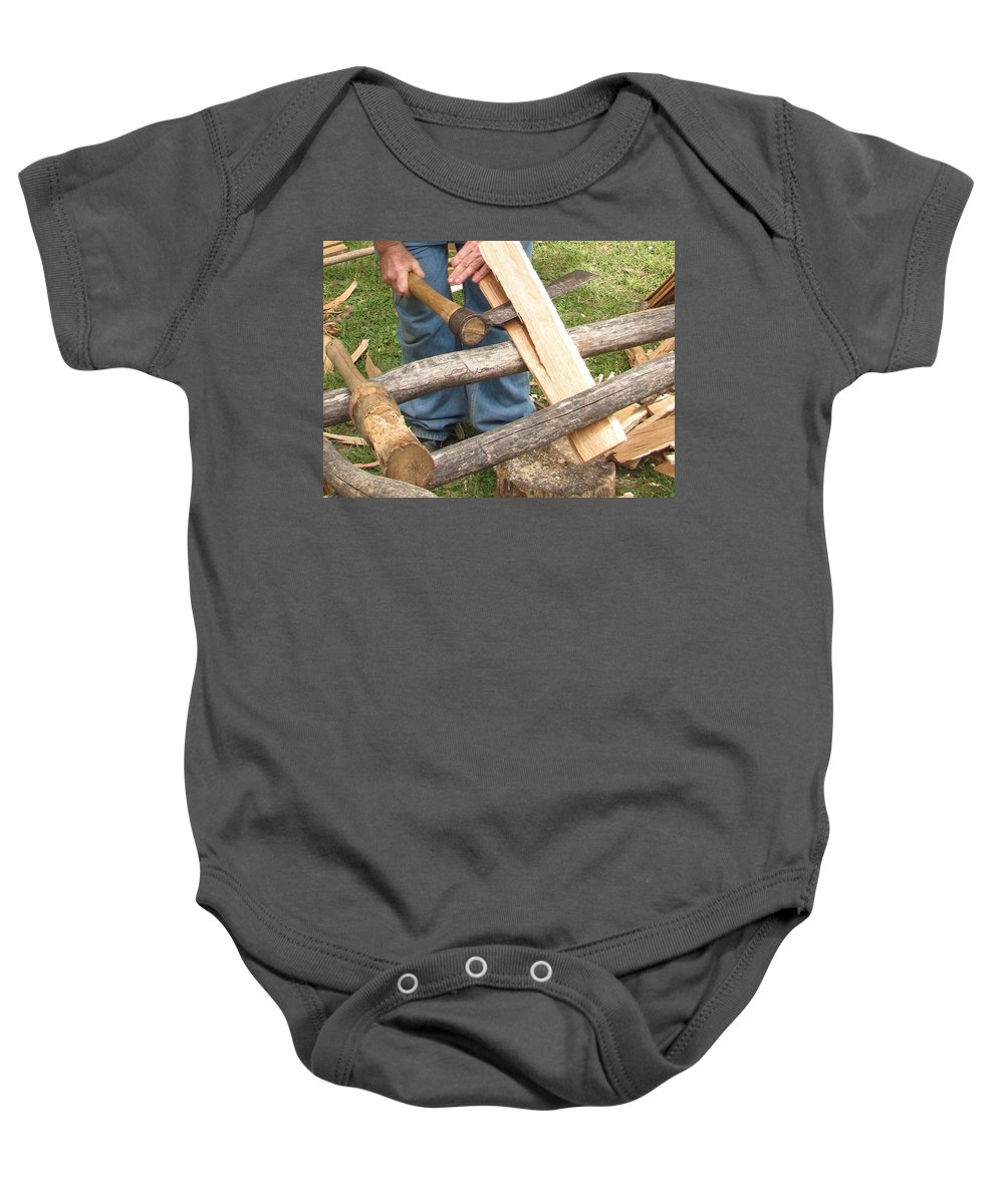 Cedar Baby Onesie featuring the photograph Cedar Shake Shingle by Kent Dunning