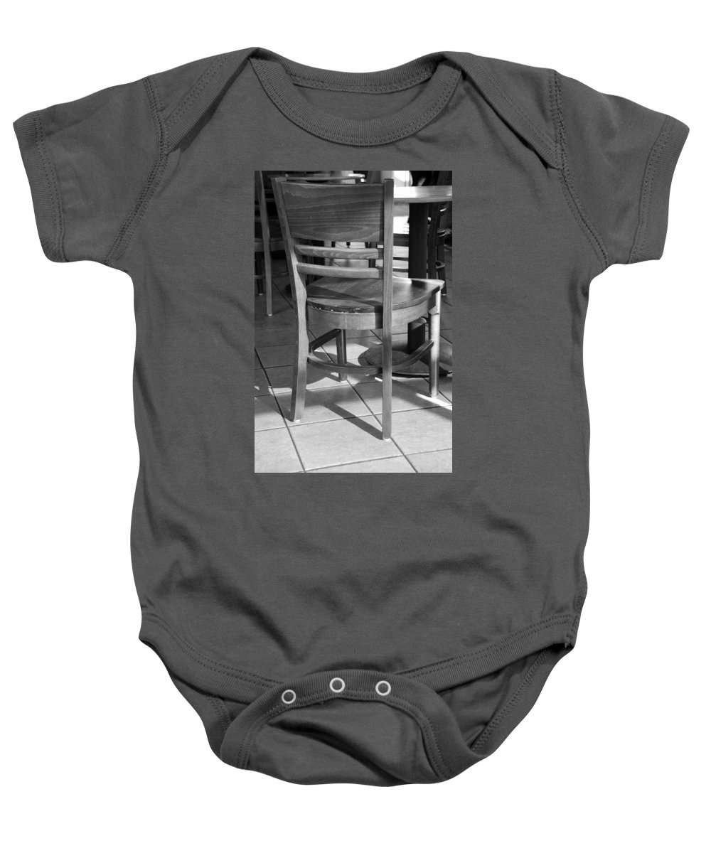 Black And White Baby Onesie featuring the photograph Chair by Rob Hans