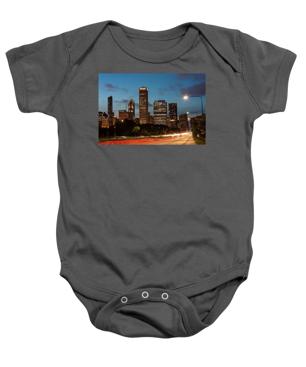 Chicago Skyline Baby Onesie featuring the photograph Chicago Business District At Dusk by Semmick Photo
