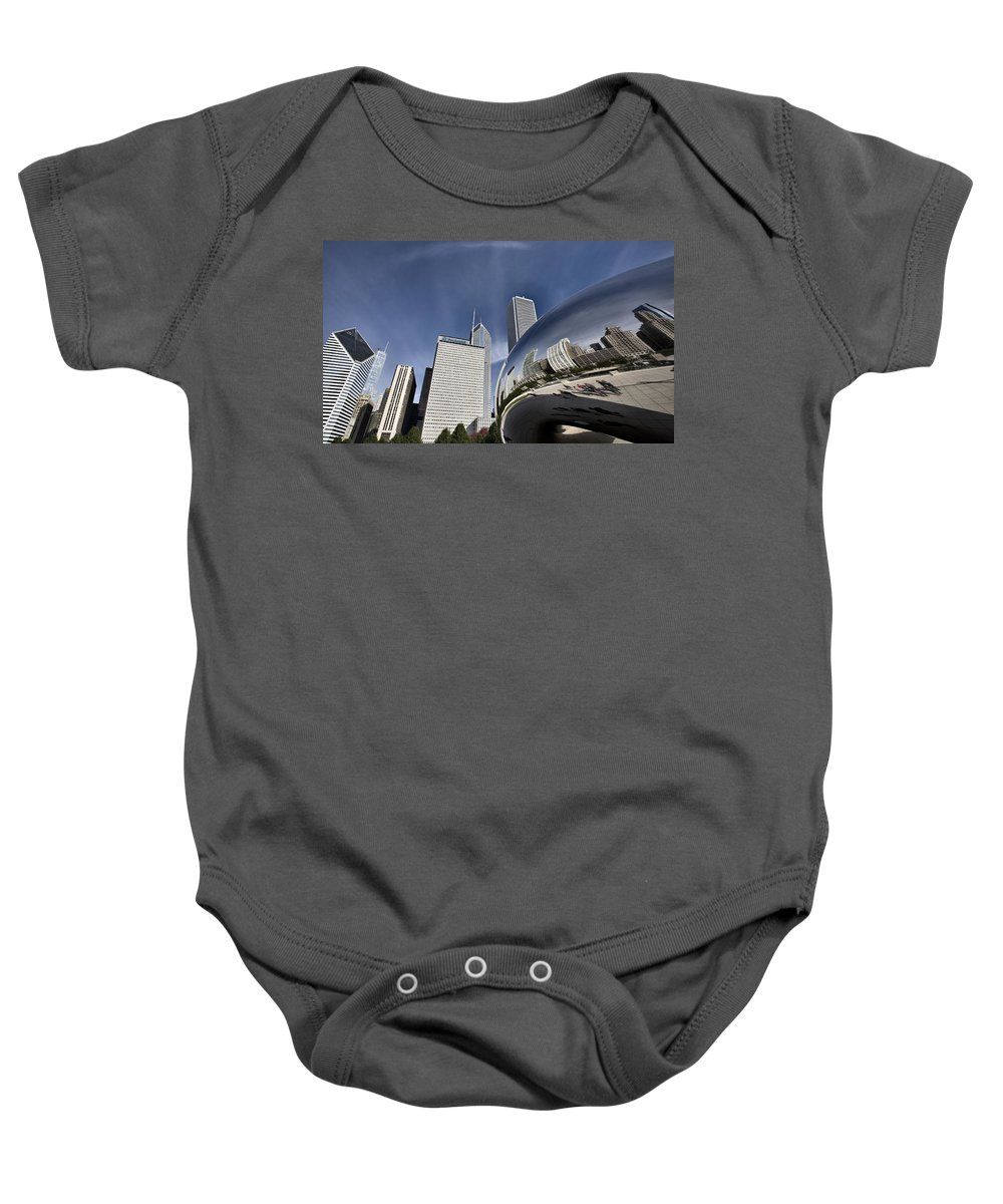 Cityscape Baby Onesie featuring the digital art Chicago Cityscape The Bean by Mark Duffy