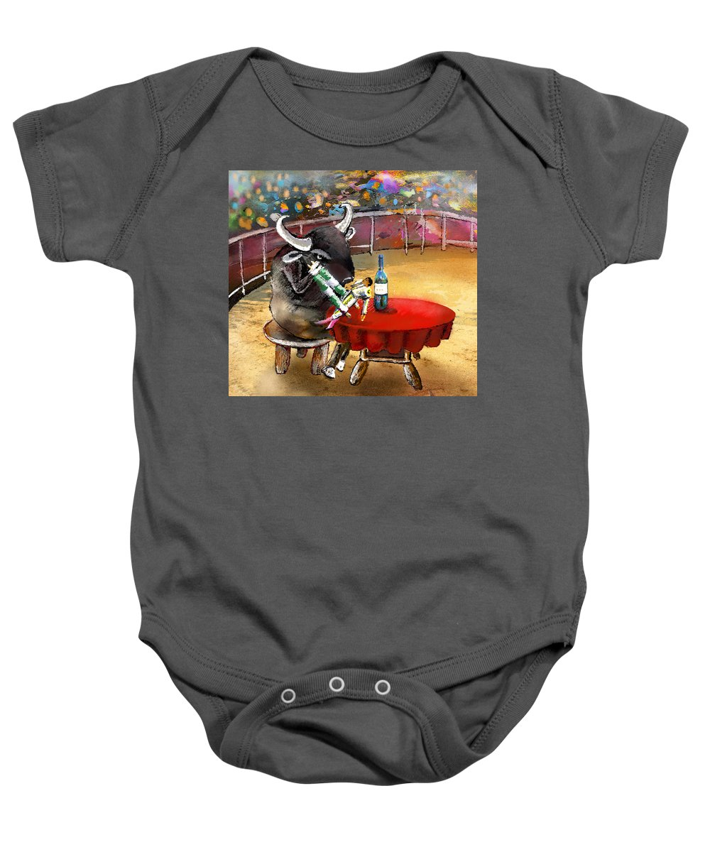 Bulls Baby Onesie featuring the painting Chop Sticks For A Bull by Miki De Goodaboom