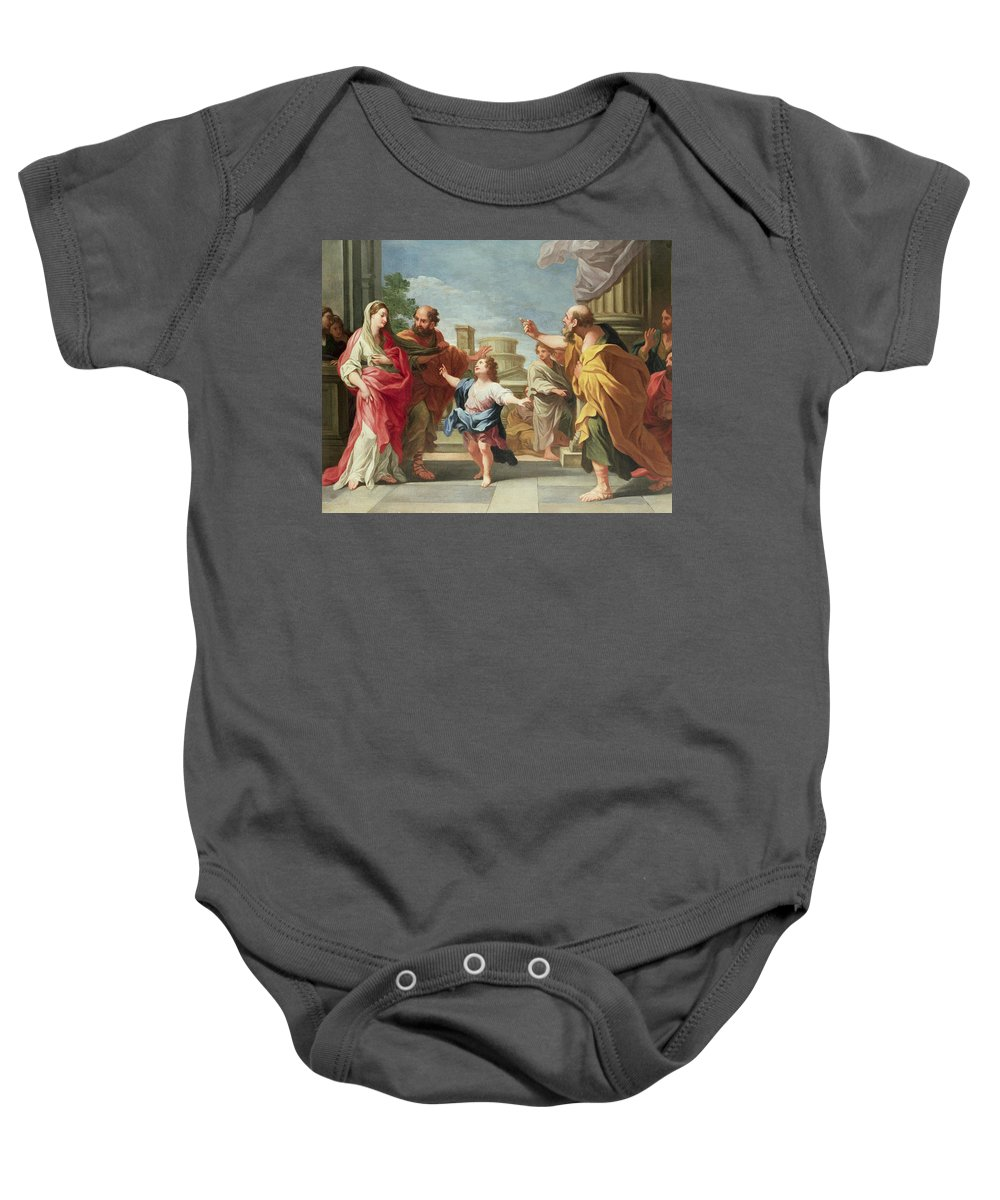 Christ Preaching In The Temple Baby Onesie featuring the painting Christ Preaching In The Temple by Ludovico Gimignani