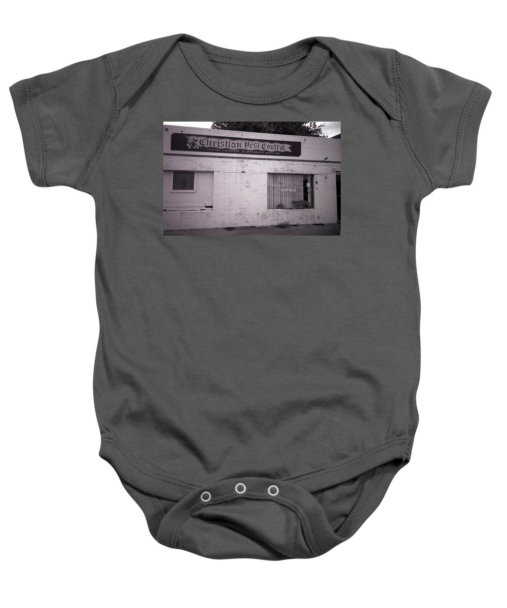 Louisiana Baby Onesie featuring the photograph Christian Pest Control by Doug Duffey