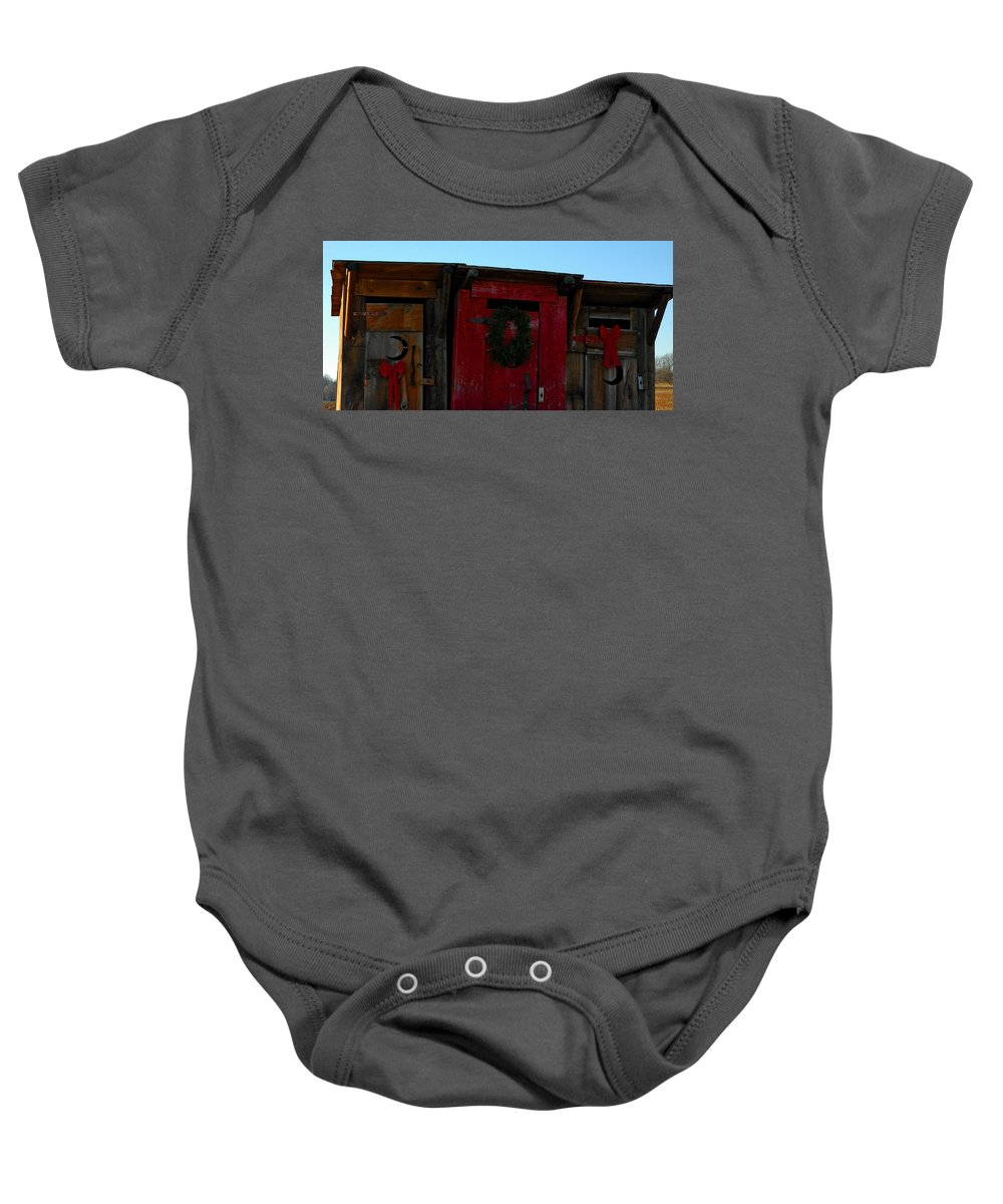 Usa Baby Onesie featuring the photograph Christmas Out Houses For Sale by LeeAnn McLaneGoetz McLaneGoetzStudioLLCcom