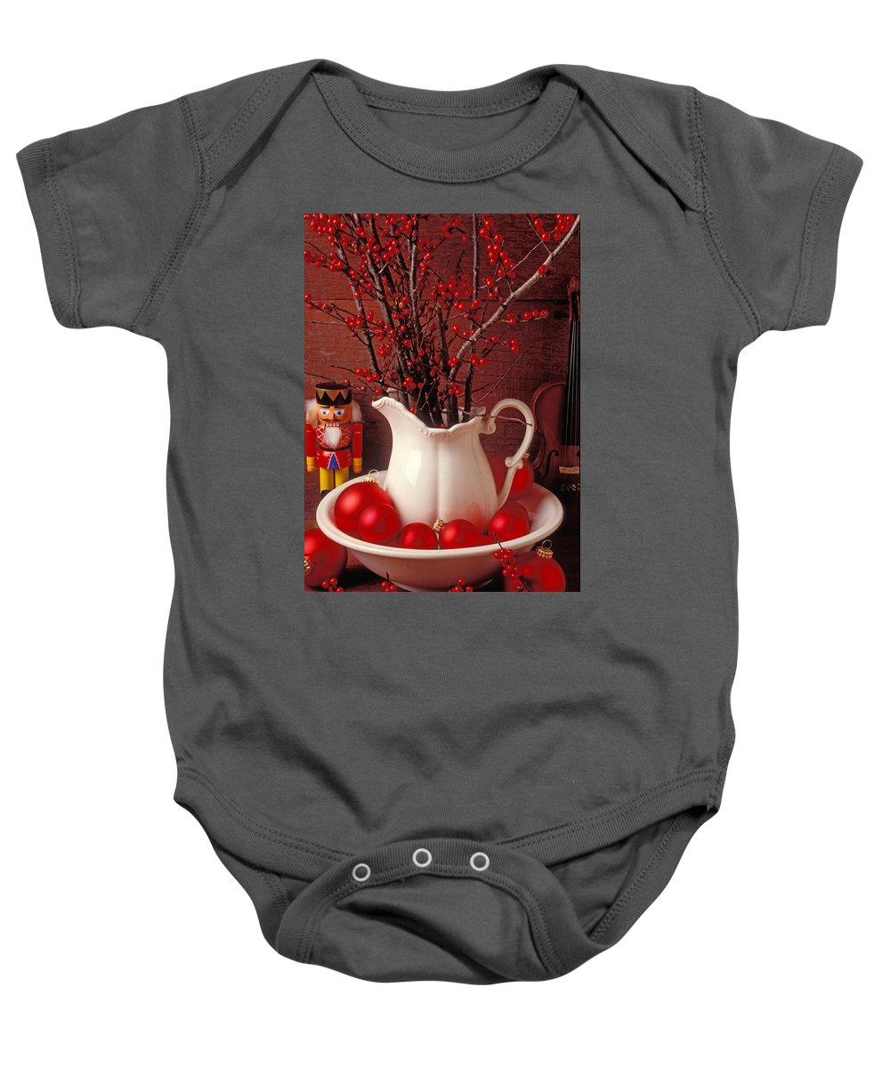 Christmas Baby Onesie featuring the photograph Christmas Still Life by Garry Gay