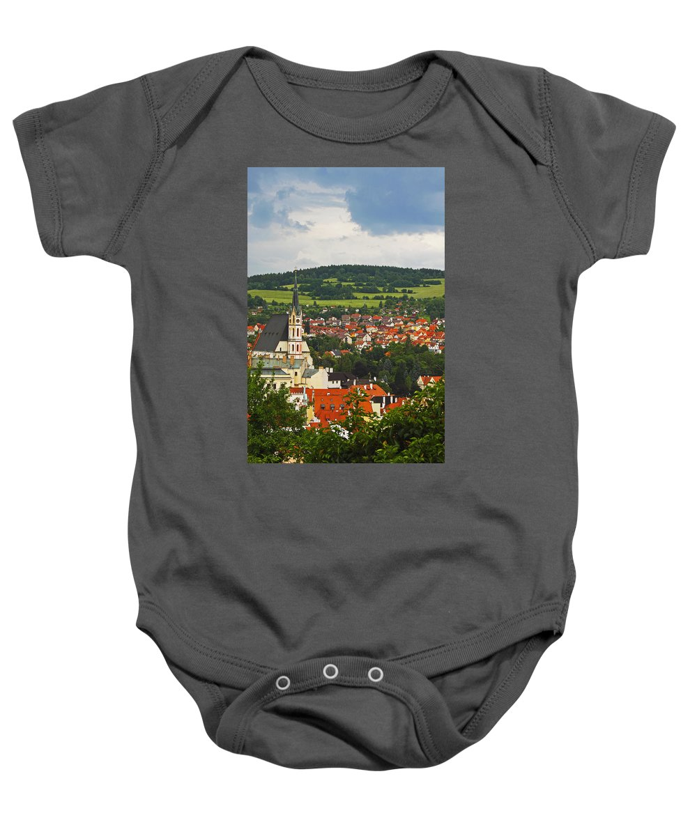Blue Sky Baby Onesie featuring the photograph Church Spire In The Old Town Cesky by Trish Punch