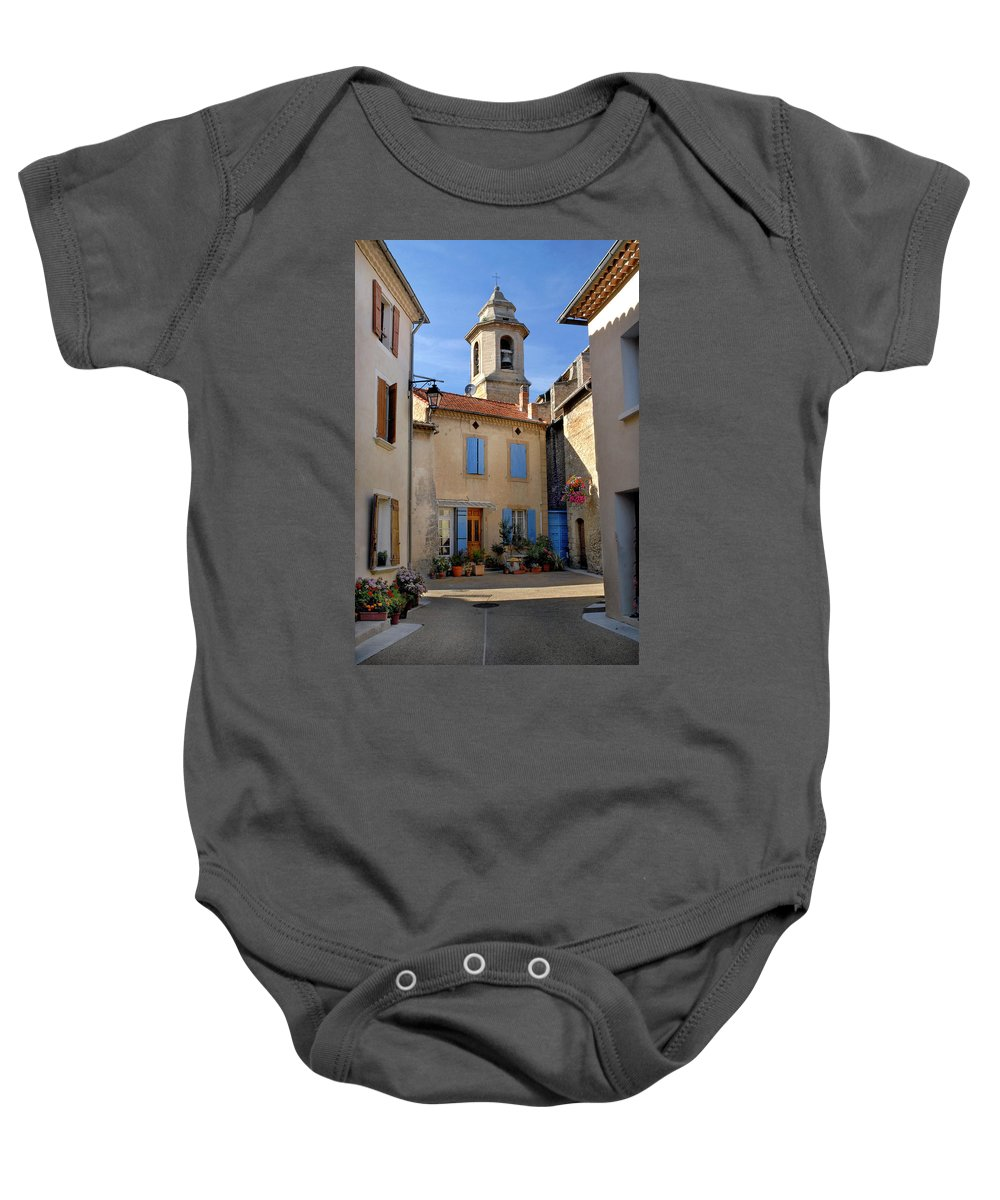 Church Steeple Baby Onesie featuring the photograph Church Steeple In Provence by Dave Mills