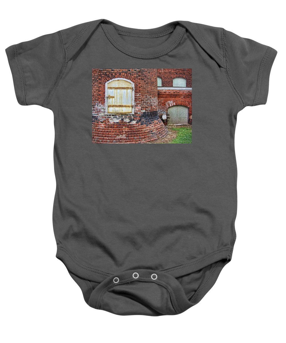 Lowe Mill Baby Onesie featuring the photograph Circa 1901 Lowe Mill Art Studios Architecture Details by Kathy Clark