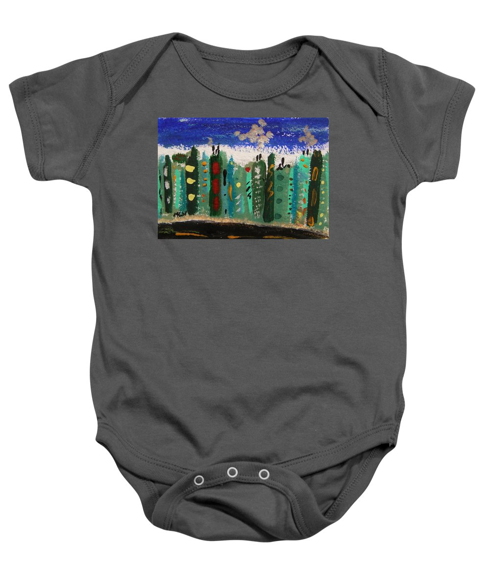 Buildings Baby Onesie featuring the painting City Sidestreet by Mary Carol Williams