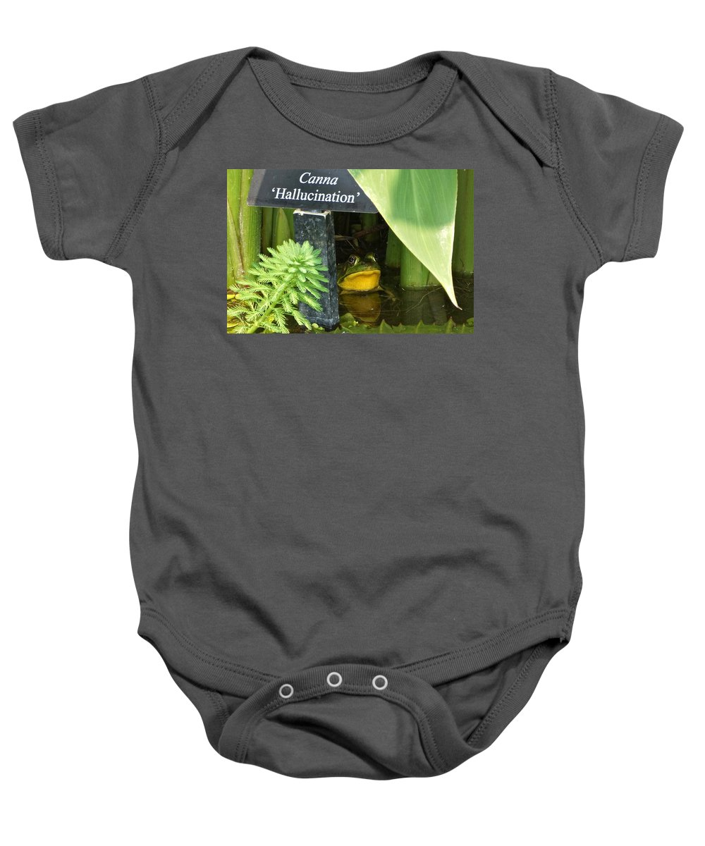 Frog Hiding Baby Onesie featuring the photograph Clever Froggy's Hideout by Byron Varvarigos