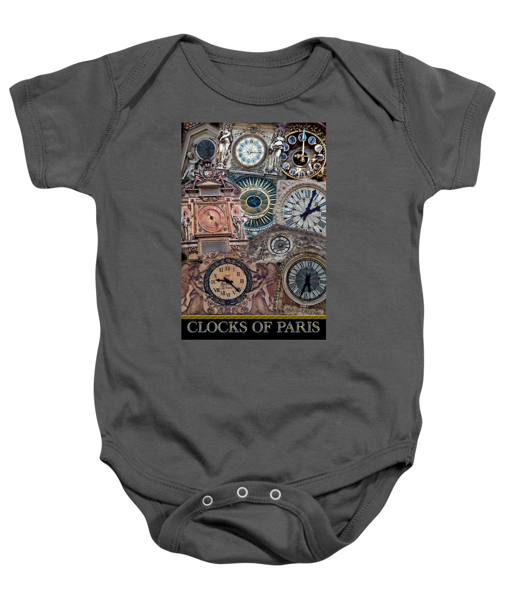 Paris Baby Onesie featuring the photograph Clocks Of Paris by Andrew Fare
