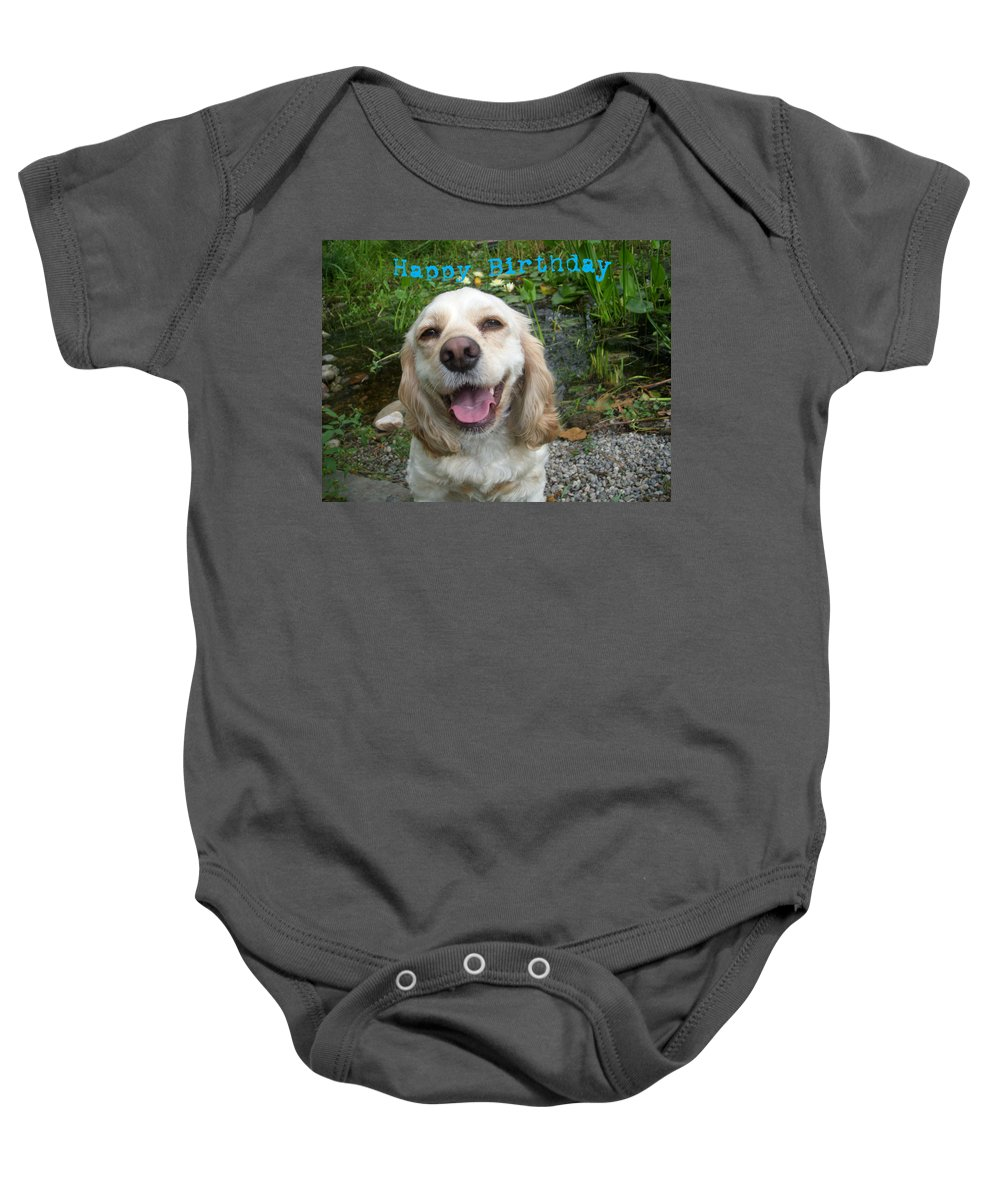 Dog Baby Onesie featuring the photograph Cocker Spaniel Birthday by Aimee L Maher ALM GALLERY