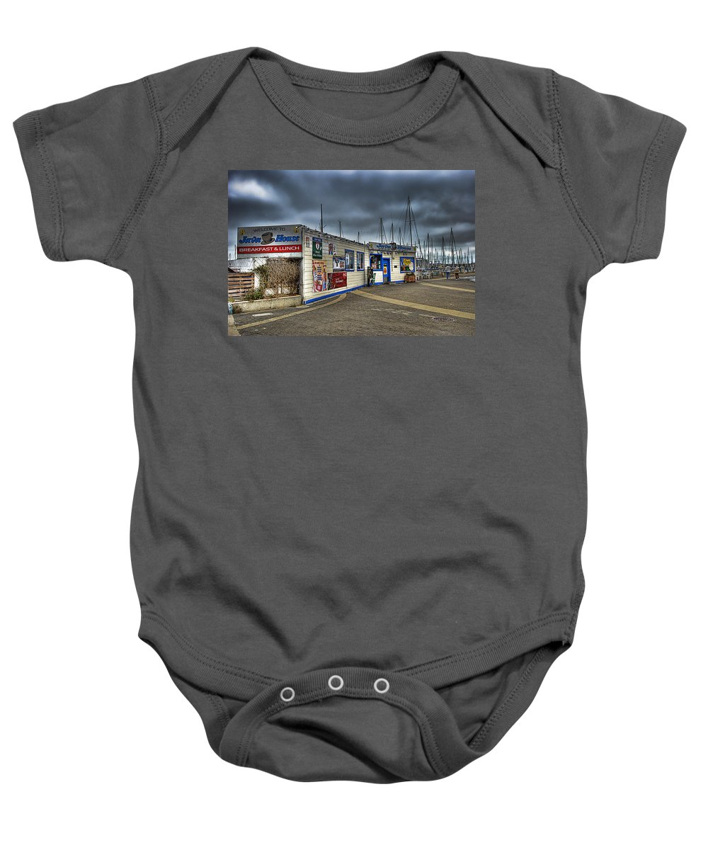 South Of Market Baby Onesie featuring the photograph Coffee Break by Jay Hooker