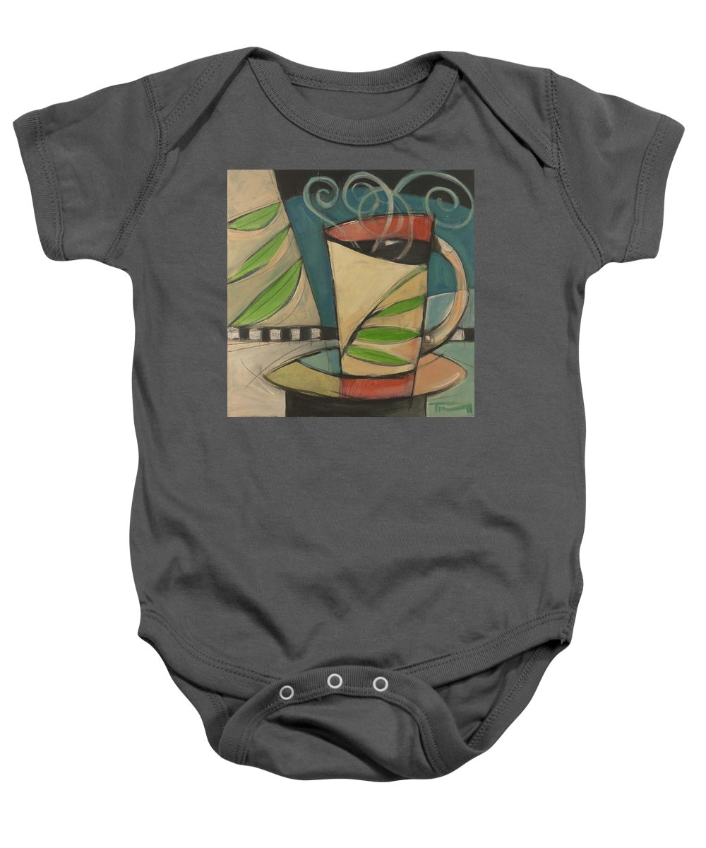 Coffee Baby Onesie featuring the painting Coffee Cup With Leaves by Tim Nyberg