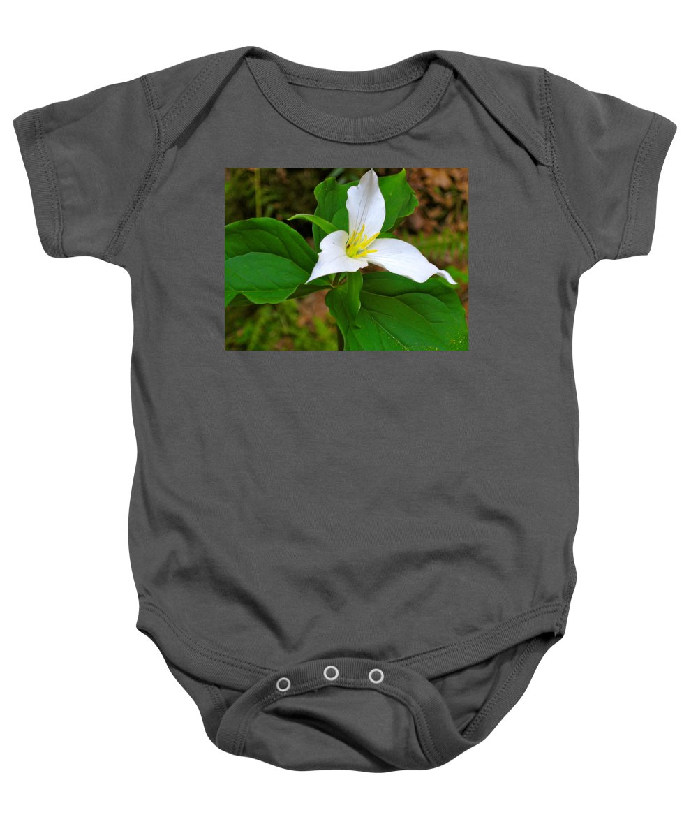 Trillium Baby Onesie featuring the photograph Colin's Trillium by Linda Hutchins