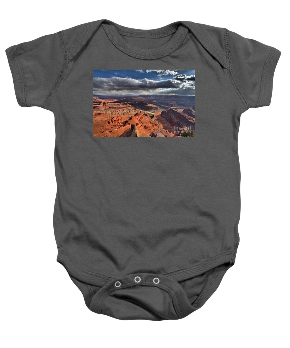 Dead Horse Point Baby Onesie featuring the photograph Colorado In The Distance by Adam Jewell